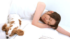 woman and dog sleeping