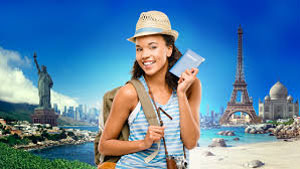 Girl holding a plane ticket.