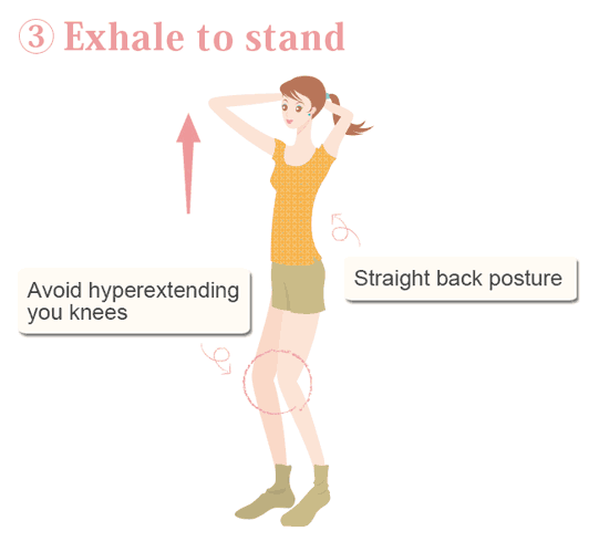 illustrated step for getting out of the squat