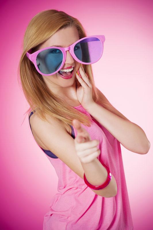 big pink glasses girl