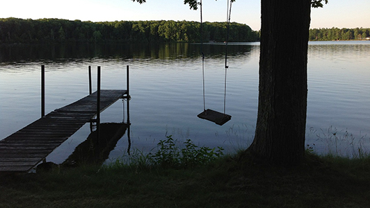 Lake and a wooden swing on a tree.