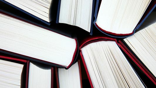 A bunch of hardback books