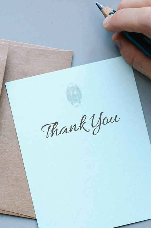 An elegant note saying 'thank you'