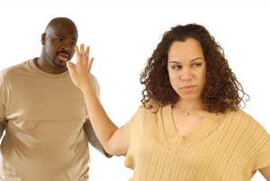 Woman not talking to man