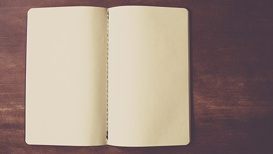 Blank sheets of a notebook