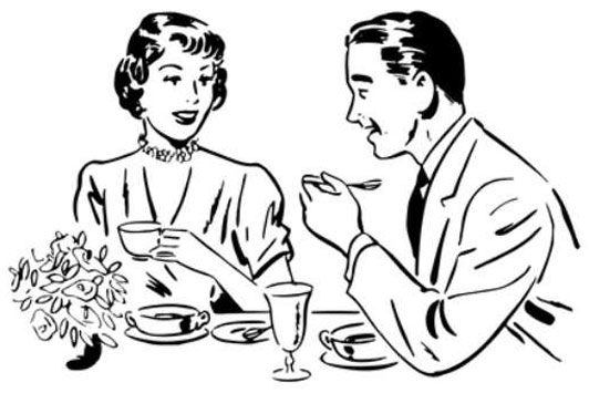 drawing of a man eating with his wife talking