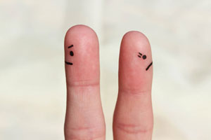 two fingers apart