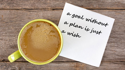 napkin with a goal without a plan is just a wish written next to coffee cup