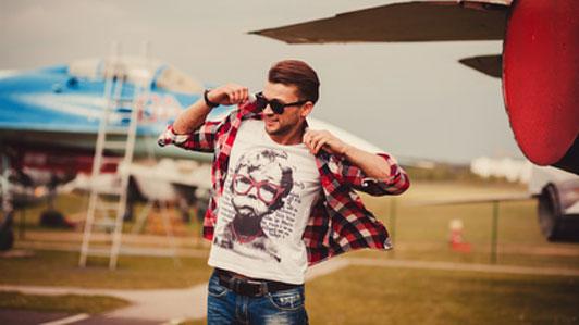 guy in sunglasses wearing in shirt