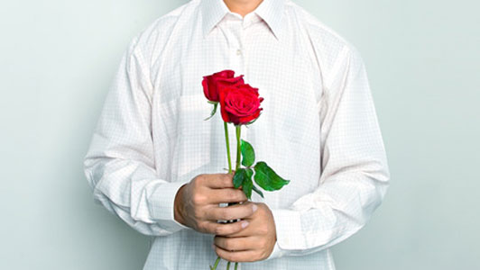 guy with roses