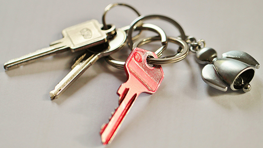 Pink key on a keychain