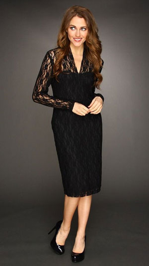Black dress with long lace sleeves