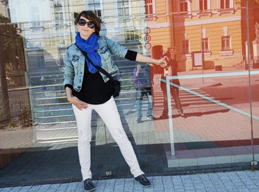 young woman wearing denim jacket