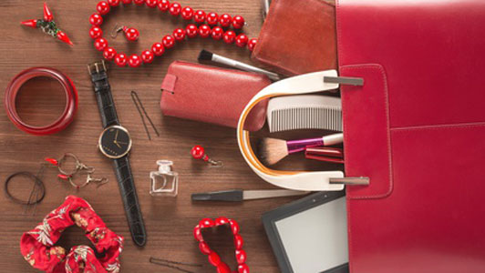 red purse accessories