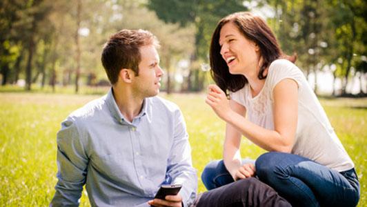 woman having fun man on phone