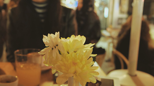 Flowers on a restaurant table.